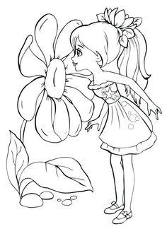 Раскраска для девочек. Девочка и красивый цветок
