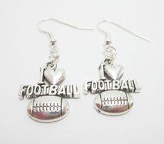 I Love Football Charm Earrings Game Earrings Simple Cute by WhispySnowAngel on Etsy