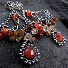 sterling silver earrings with citrine, carnelian, tourmaline and sunstone by Anna Rei