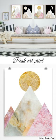 Large Framed Art Prints - The modern collage art prints with the abstract mountain landscape is created using beautiful marble textures to show the beauty and diversity of nature. Bright print is perfect for any modern interior. Check out on MarbleArtCo    Landscape Art  Nature Wall Art  Minimalist Art  Stone Art  Nature Art Modern Large Wall Art  Modern Artwork  Mountains Wall Art  Gold Marble Poster  Office Wall Art  Nordic Art  Bedroom Decor Large Framed Art Prints