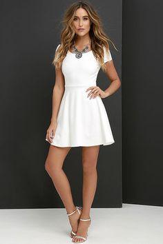 Winning Look Ivory Skater Dress at Lulus.com!