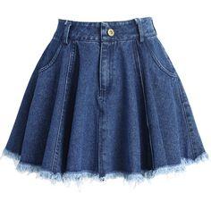 Chicwish Tassel Trim Denim Mini Skirt in Blue Kpop Fashion Outfits, Girls Fashion Clothes, Mode Outfits, Girly Outfits, Cute Casual Outfits, Pretty Outfits, Cute Skirts, Mini Skirts, Denim Mini Skirt
