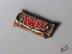 A twix bar - hyperrealistic speed drawing by Marcello Barenghi Sweet Drawings, 3d Drawings, Realistic Drawings, Pencil Drawings, Pencil Sketching, Drawing Tools, Art Hyperréaliste, Chocolate Drawing, Hyperrealistic Drawing