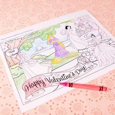 Disney Princess Valentine's Day Coloring Page