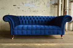 MODERN HANDMADE 3 SEATER PLUSH NAVY BLUE VELVET CHESTERFIELD SOFA | eBay