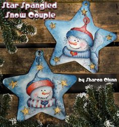 Star Spangled Snow Couple Video Tutorial and ePattern - Sharon Chinn Christmas Wood, Diy Christmas Ornaments, Christmas Decorations, Christmas Ideas, Pintura Country, Snowmen Pictures, Christmas Pictures, Tole Painting Patterns, Snowman Faces