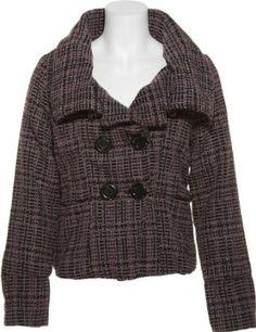 DOLLHOUSE Tweed Cropped Pea Coat [6876], LAVENDER/BLACK, X-LARGE dollhouse. $32.95