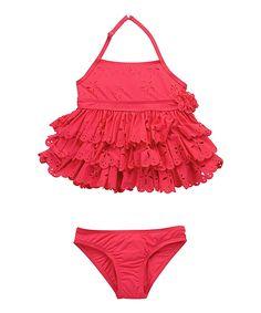 Loving this Beach Rays Rose Lace Ruffle Tankini - Girls on #zulily! #zulilyfinds