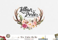 Watercolor Floral Deer Logo Pay As You Go Custom by TheParisStudio