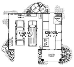 2 Car Garage Apartment Plan Number 91248 First Floor Plan of Garage Plan 91248 Dog Kennel Designs, Kennel Ideas, Dog Boarding Kennels, Food Dog, Build A Dog House, Dog Spaces, Garage Plans, Car Garage, Garage Ideas