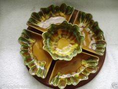 California pottery vintage lazy Susan Vintage Retro Green Yellow California Pottery Lazy Susan Dip Tray USA L58 NICE (not really sure what the year is)