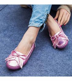 Women's #pink casual shoe #loafers low cut slip on style, sewing thread design, butterfly, tassel, casual, leisure occasions.