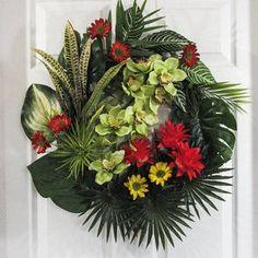 Hydrangea Wreath, Pink Hydrangea, Pink Orchids, Orange Flowers, Tropical Flowers, Coastal Wreath, Tall Flowers, Summer Door Wreaths, Outdoor Wreaths