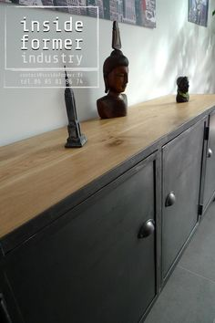 Buffet style industriel Buffet Design, Style Loft, Buffets, Entryway Tables, Industrial, Vintage, Furniture, Home Decor, Wood Steel
