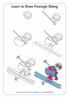 Learn to draw freestyle skiing