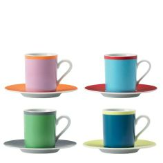 Set of 4 LSA International Ania coffee cup and saucer, assorted colours
