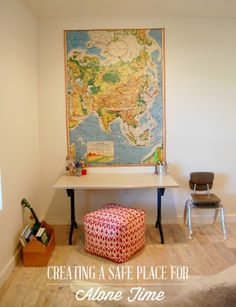 Recover playroom foam block/ottomans to be cute poofs. Add extra batting for softness. {Creating a Safe Place for Alone Time} Play Spaces, Learning Spaces, Kid Spaces, Quiet Time Activities, Alone Time, Peaceful Places, Play To Learn, Safe Place, Family Room