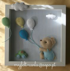 Idea for in my box frames :-) Baby Crafts, Felt Crafts, Home Crafts, Diy And Crafts, Box Frame Art, Box Frames, Baby Frame, Felt Pictures, Felt Baby