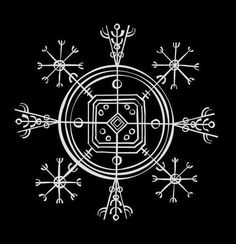 """hedendom: """" Icelandic Magical Staves Hulinhjalmur Hulinhjalmur (""""Helm Of Disguise"""") is a sigil that allows the user to become invisible. The complex task of creating the ink to make this sigil is done by collecting three drops of blood from the index. Magic Symbols, Viking Symbols, Viking Runes, Ancient Symbols, Egyptian Symbols, Norse Tattoo, Viking Tattoos, Wiccan Tattoos, Inca Tattoo"""