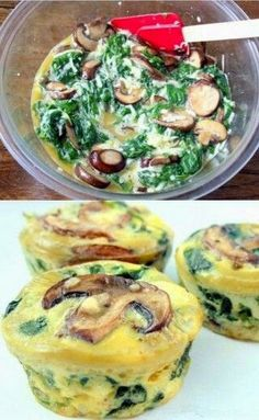 Ingenioso quiche de espinacas y champiñones en forma de muffin by selma Veggie Recipes, Cooking Recipes, Quiche Recipes, Healthy Snacks, Healthy Recipes, Love Food, Breakfast Recipes, Breakfast Quiche, Breakfast Ideas