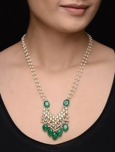 Buy Green Golden White Onyx Kundan inspired Gold Tone Silver Necklace with Pearls Jewelry Necklaces/Pendants Online at Jaypore.com