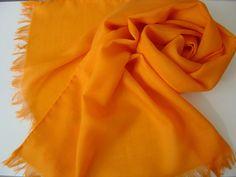 Wollschal Merinoschal 180x45cm mandarine von Textilkreativhof auf DaWanda.com