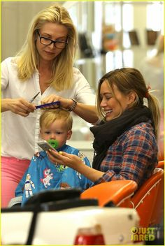 Hilary Duff takes her son Luca to get his hair cut on May 7, 2013