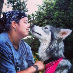 My wolfdog Shi showing some love.