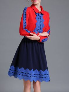 #AdoreWe #StyleWe AOFULI Blue Girly Color-block Midi Dress - AdoreWe.com