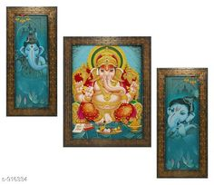 Checkout this latest Gift combos Product Name: * Lord Ganesha Wall Painting Frame (Set Of 3)* Material: Wood & Plastic Size: Frame 1 (L x W) - 12.5 in x 5.2 in Frame 2 (L x W) - 9.5 in x 12.5 in Frame 3 (L x W) - 12.5 in x 5.2 in Description: It Has 3 Pieces Of Lord Ganesha Wall Painting (Glass Is Not Included) Work: Printed Country of Origin: India Easy Returns Available In Case Of Any Issue   Catalog Rating: ★3.9 (246)  Catalog Name: Classy Spiritual Wall Paintings Vol 18 CatalogID_107706 C128-SC1316 Code: 303-916334-756