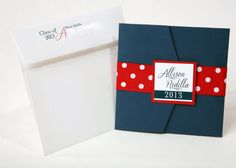 Square Pocket Graduation Announcements Set of 25  by ImpressPapers, $187.50