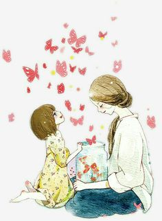 Mother s Day To The Mother S Love Of Watercolor Illustrations Mother Daughter Art, Mother Art, Mother And Child, Family Illustration, Watercolor Illustration, Mother Clipart, Mothers Love, Girl Cartoon, Easy Drawings