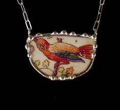 Broken china jewelry necklace antique bird of paradise made from a broken plate