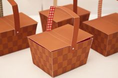 """A lil' basket perfect for a summer picnic or a """"Wizard of Oz"""" party!  Our Printable PICNIC BASKET Favor Box includes: • Printable picnic basket box (1 per page) • Printable gingham paper (8.5"""" x 11""""; 6 colors) • Assembled box is 3 1/2"""" w x 2 1/8"""" h (4"""" h with handle) x 2 7/8"""" d • Printing a..."""