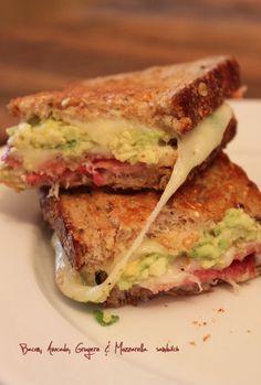 Bacon, avocado, gruyere and mozzarella sandwich. little glass box blog.