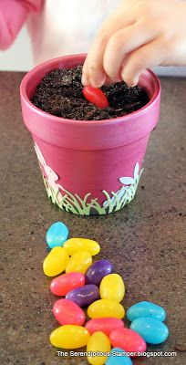 The Serendipitous Stamper~Magic Jelly Beans- A fun thing for kids to plant and see kind of Easter surprises grow overnight.