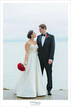 Wedding portrait on a rainy day at Catawba Island Club in Port Clinton, OH