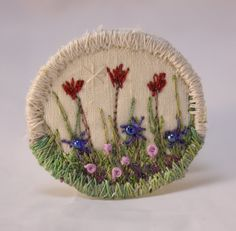 Round Flower Pin flower fabric Brooch cream shawl hat pin with bead Accents accessory art pin corsage spring garden tulip Fashion Accessory