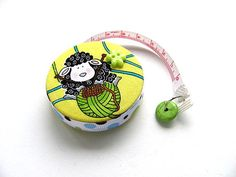 Measuring Tape Sheep and Knitting Yellow Retractable Tape