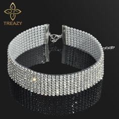 1.12$  Buy here - TREAZY Sparkling Full Crystal Rhinestone Choker Necklace for Women Wedding Bridal Collar Choker Chain Necklace Party Jewelry   #buyininternet