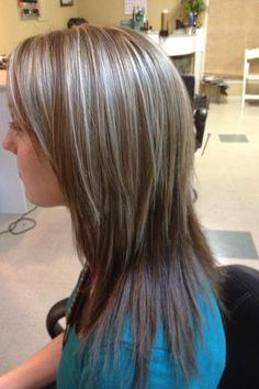 Dark brown, med brown, with blonde highlights.