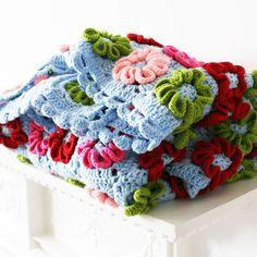 Crochet Flower Blanket by Rocket and Bear.  Ready made, design ideas / inspiration