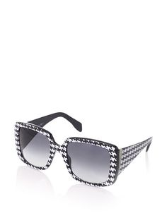 Gotta have the glasses!!!!  Alexander McQueen Women's Square Houndstooth Sunglasses, Black/White at MYHABIT