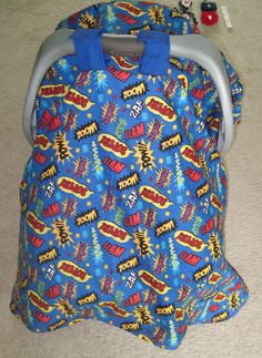Friends, please 'pin' to help me advertise.  Thanks!  Super Hero Car Seat Canopy / Cover / Blanket by mycraftierside, $30.00