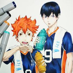 """917 Likes, 9 Comments - Saitama 👊 [One Punch Man] (@draw_night3vil) on Instagram: """"Haikyuu - Hinata and Kageyama 🍙 Artwork by @lainahs_art 🎱 • « Tag your best draw with #Evil_feature…"""""""