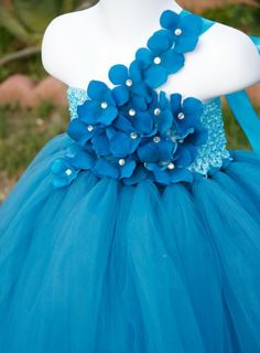 Teal Flower Girls' Tutu Dress / www.poshbabystore.com / The EXPLOSION OF COLOUR!  Wedding