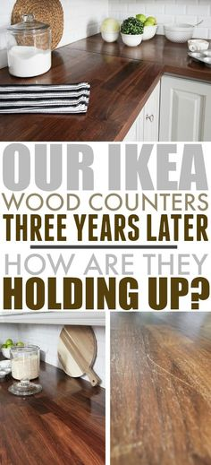 Many people are surprised to hear that our beautiful wood counters are actually from IKEA. Here's an update on how our IKEA wood counters are holding up three years after we installed them. Ikea Kitchen Countertops, Diy Wood Countertops, Butcher Block Countertops, Countertop Redo, Diy Kitchen, Kitchen Decor, Kitchen Ideas, Kitchen Designs, Kitchen Pictures