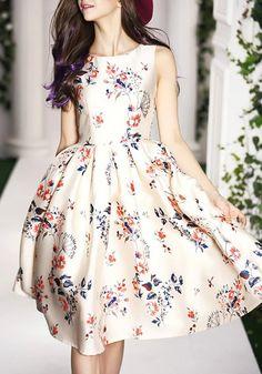 Beige Floral Pattern Round Neck Fashion Cotton Midi Dress