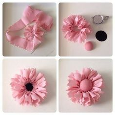 DIY Hair Bow Holder Band and a picture frame. by mmonet frame Fabric Flower Headbands, Making Fabric Flowers, Cloth Flowers, Felt Flowers, Flower Making, Diy Flowers, Chiffon Flowers, Crocheted Flowers, Headband Flowers