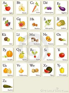 fruit and vegetable alphabet - think that it would be great to use these cards as markers for an alphabet container garden! We had one at school years ago that another teacher created and it was pretty cool!
